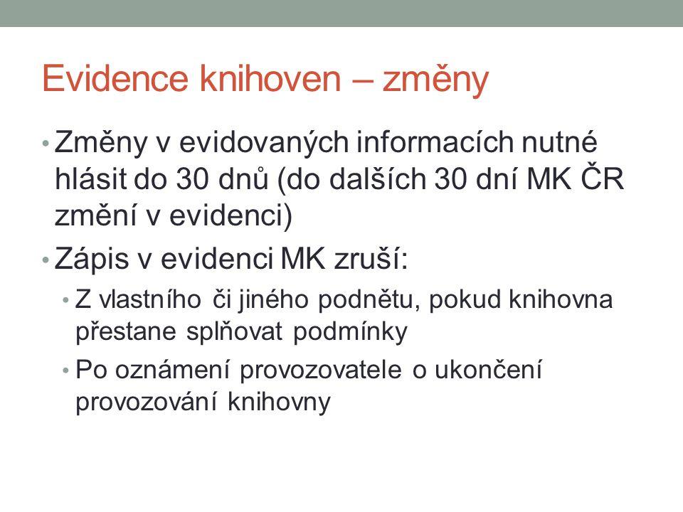 Evidence knihoven – změny Změny v evidovaných informacích nutné hlásit do 30 dnů (do dalších 30 dní MK ČR změní v evidenci) Zápis v evidenci MK zruší: