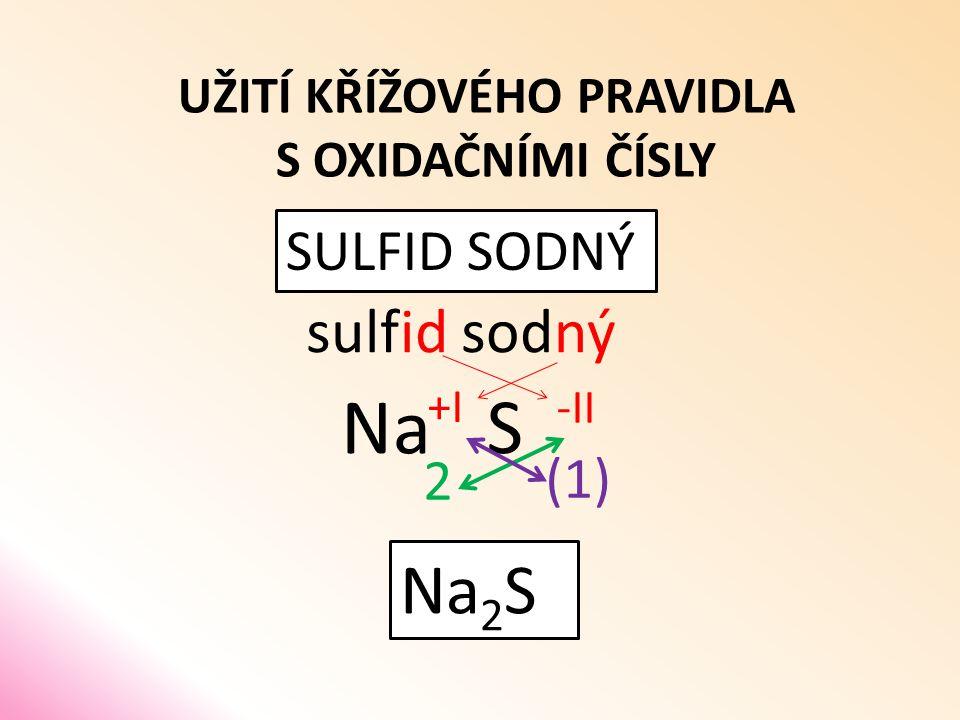 UŽITÍ KŘÍŽOVÉHO PRAVIDLA S OXIDAČNÍMI ČÍSLY SULFID SODNÝ sulfid S sodný Na (1) 2 Na 2 S -II +I
