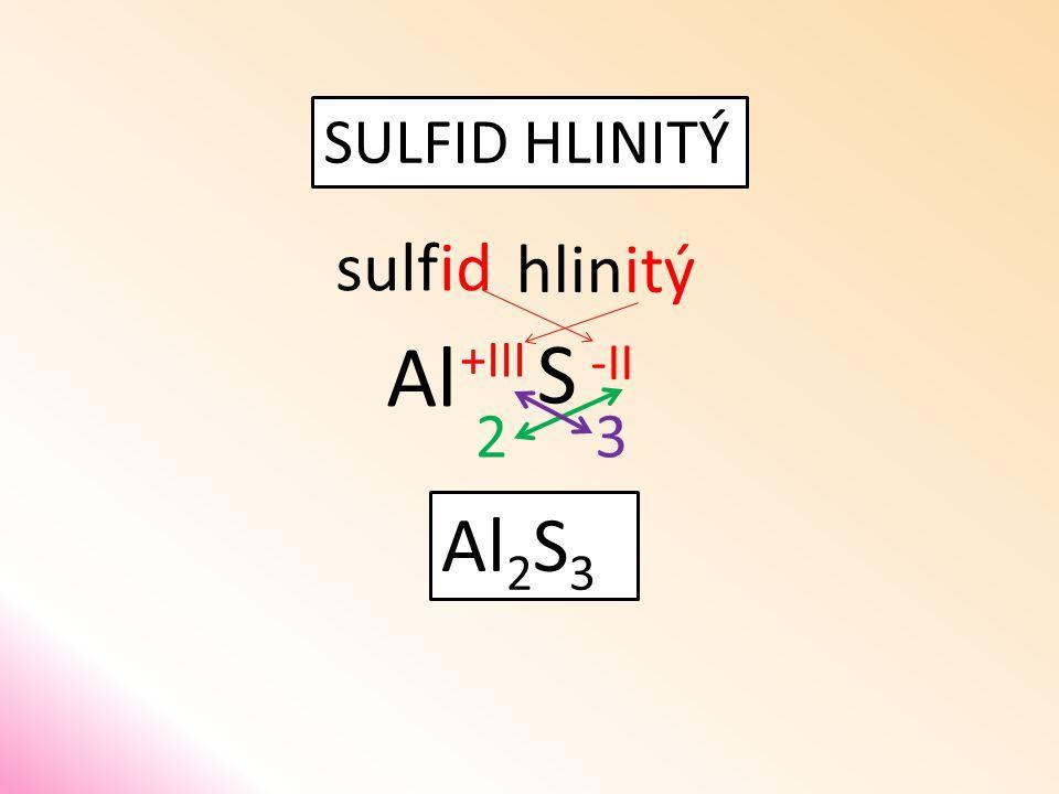 SULFID HLINITÝ sulfid S hlinitý Al 32 Al 2 S 3 -II +III