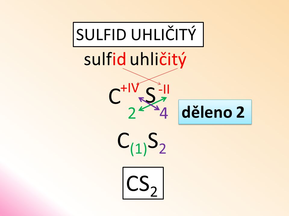 SULFID UHLIČITÝ sulfiduhličitý S C 42 CS 2 děleno 2 C (1) S 2 -II +IV