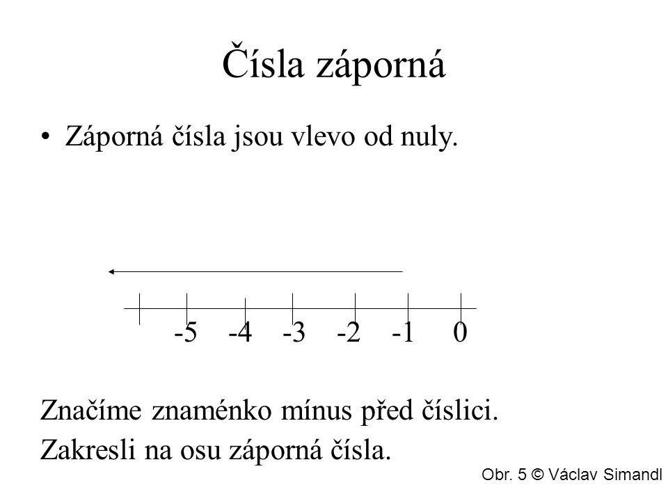 Čísla záporná Záporná čísla jsou vlevo od nuly. -5 -4 -3 -2 -1 0 Značíme znaménko mínus před číslici. Zakresli na osu záporná čísla. Obr. 5 © Václav S