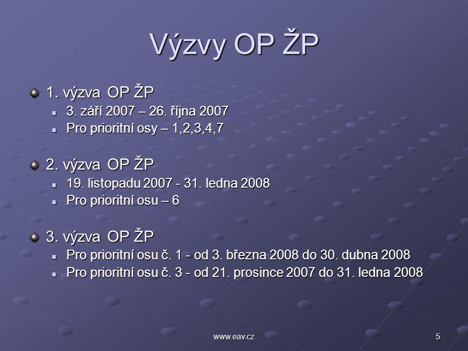 5www.eav.cz Výzvy OP ŽP 1. výzva OP ŽP 3. září 2007 – 26.