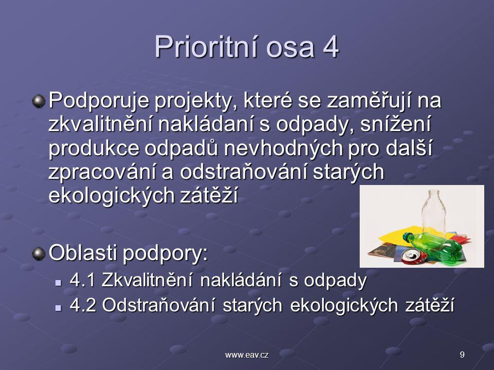 9www.eav.cz Prioritní osa 4 Podporuje projekty, které se zaměřují na zkvalitnění nakládaní s odpady, snížení produkce odpadů nevhodných pro další zpracování a odstraňování starých ekologických zátěží Oblasti podpory: 4.1 Zkvalitnění nakládání s odpady 4.1 Zkvalitnění nakládání s odpady 4.2 Odstraňování starých ekologických zátěží 4.2 Odstraňování starých ekologických zátěží