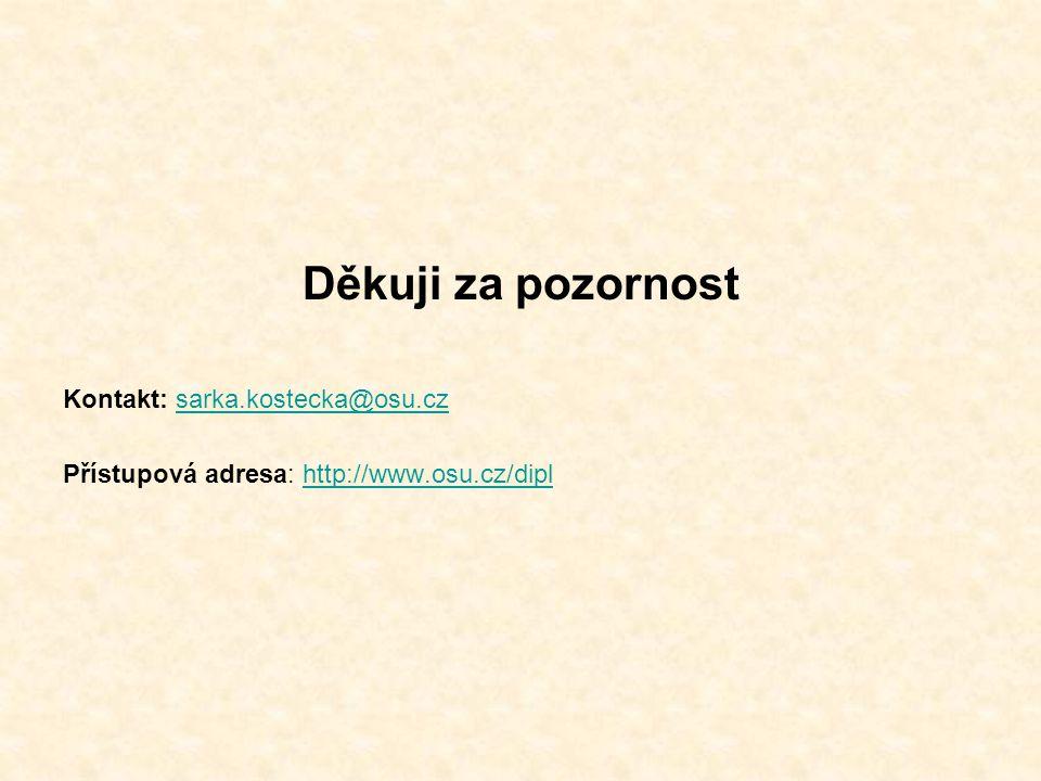 Děkuji za pozornost Kontakt: sarka.kostecka@osu.czsarka.kostecka@osu.cz Přístupová adresa: http://www.osu.cz/diplhttp://www.osu.cz/dipl
