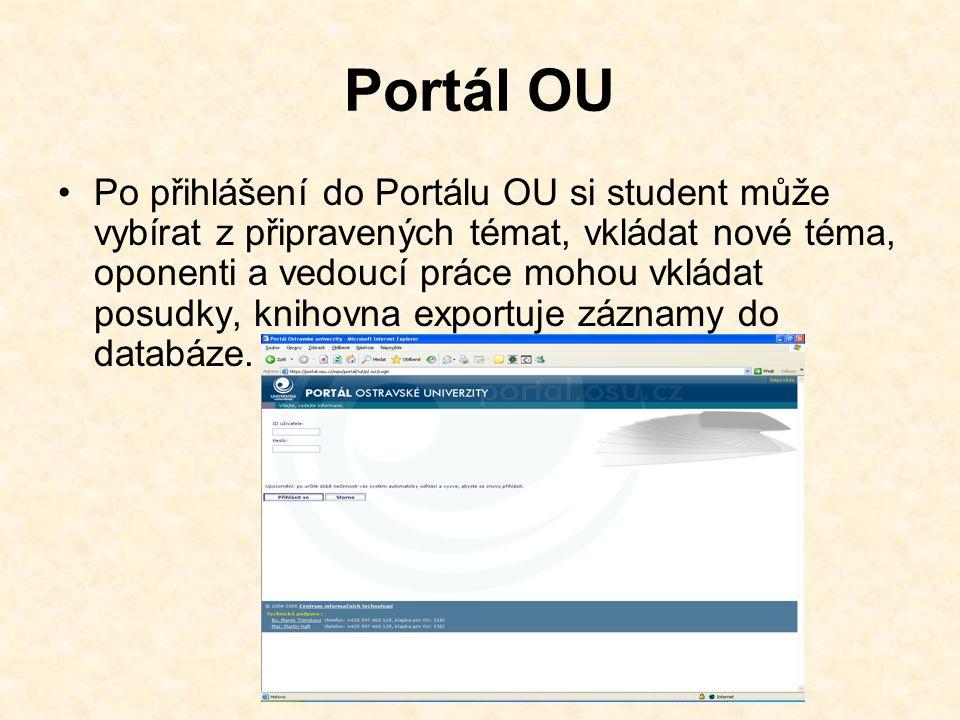 Portál OU Po přihlášení do Portálu OU si student může vybírat z připravených témat, vkládat nové téma, oponenti a vedoucí práce mohou vkládat posudky, knihovna exportuje záznamy do databáze.