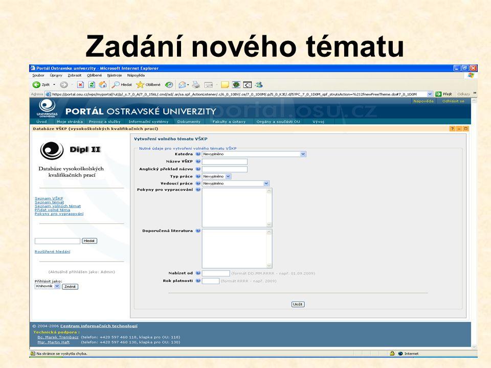 Detail VŠKP +export do databáze (po vyplnění všech metadat zde bude k dispozici celý záznam) Export do databáze Vložení posudků