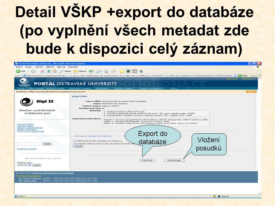 Záznam v databázi