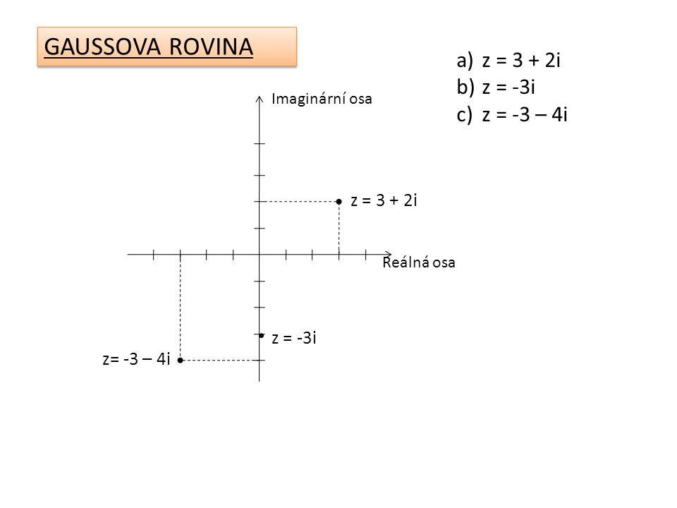 Na kterou osu v Gaussově rovině znázorníte číslo -3i.