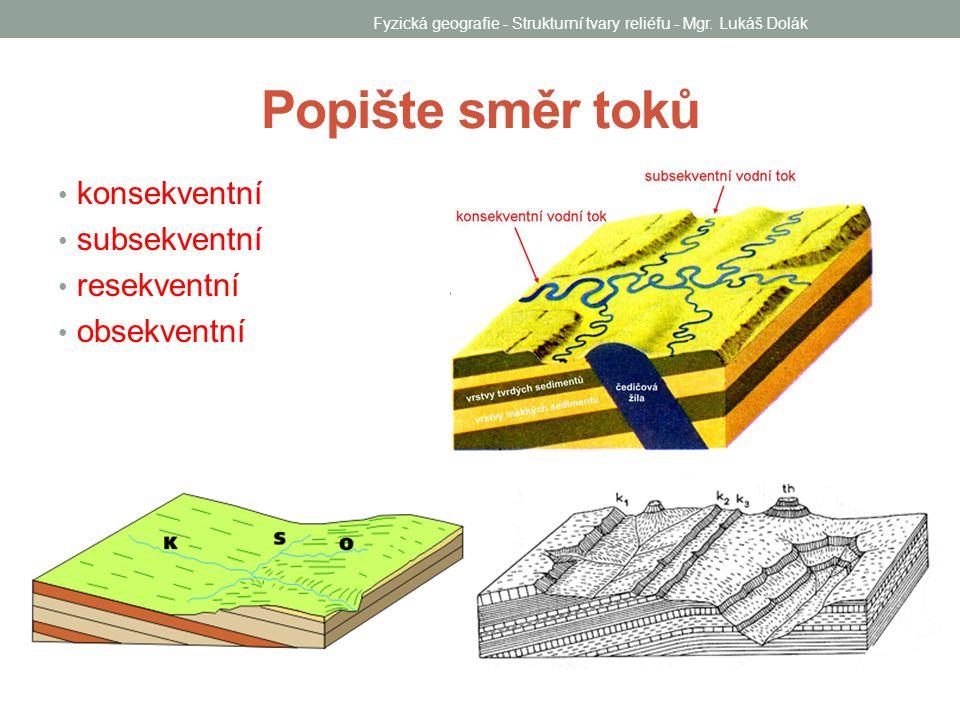 Popište směr toků konsekventní subsekventní resekventní obsekventní Fyzická geografie - Strukturní tvary reliéfu - Mgr. Lukáš Dolák