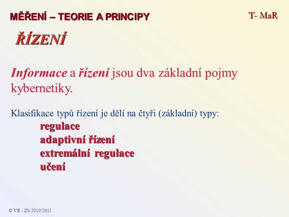 T- MaR MĚŘENÍ – TEORIE A PRINCIPY Informace a řízení jsou dva základní pojmy kybernetiky. Klasifikace typů řízení je dělí na čtyři (základní) typy:reg