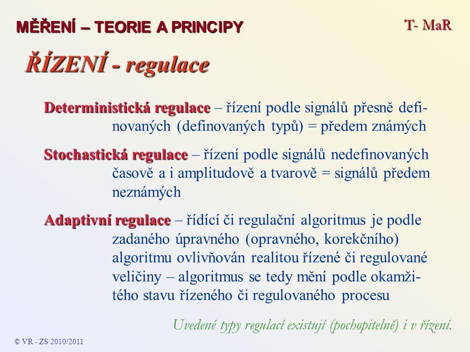 T- MaR MĚŘENÍ – TEORIE A PRINCIPY Deterministická regulace Deterministická regulace – řízení podle signálů přesně defi- novaných (definovaných typů) =