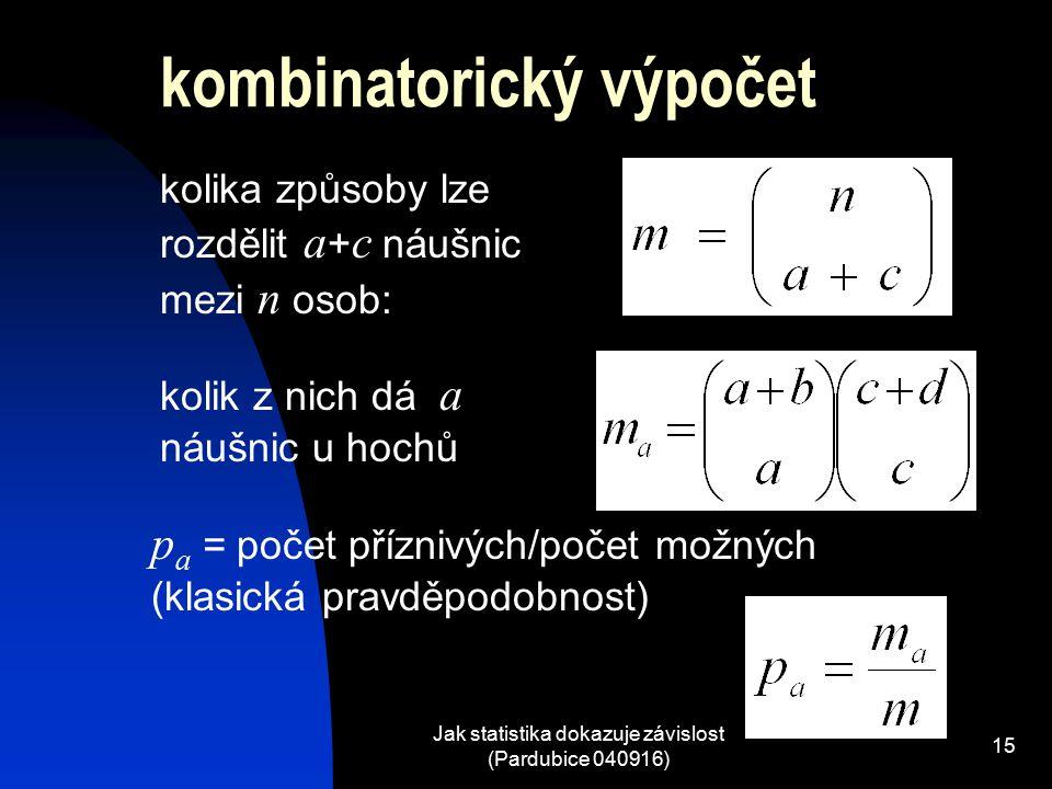Jak statistika dokazuje závislost (Pardubice 040916) 15 kolika způsoby lze rozdělit a + c náušnic mezi n osob: kolik z nich dá a náušnic u hochů p a = počet příznivých/počet možných (klasická pravděpodobnost) kombinatorický výpočet