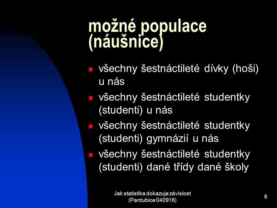 Jak statistika dokazuje závislost (Pardubice 040916) 6 možné populace (náušnice) všechny šestnáctileté dívky (hoši) u nás všechny šestnáctileté studentky (studenti) u nás všechny šestnáctileté studentky (studenti) gymnázií u nás všechny šestnáctileté studentky (studenti) dané třídy dané školy