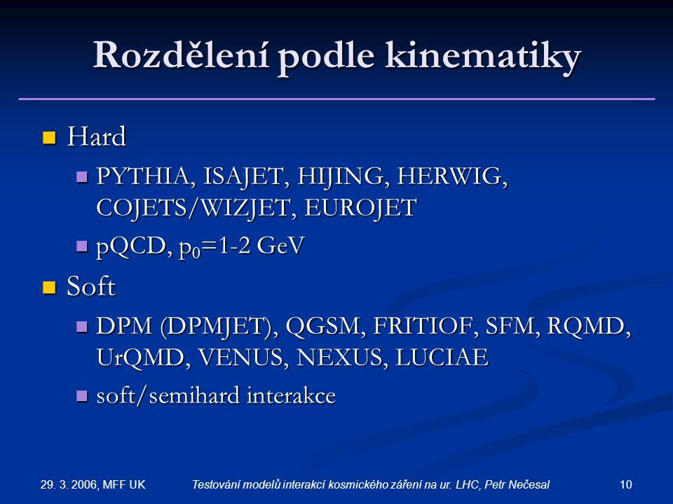29. 3. 2006, MFF UK 10Testování modelů interakcí kosmického záření na ur. LHC, Petr Nečesal Rozdělení podle kinematiky Hard Hard PYTHIA, ISAJET, HIJIN