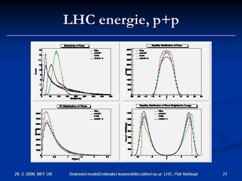 29. 3. 2006, MFF UK 21Testování modelů interakcí kosmického záření na ur. LHC, Petr Nečesal LHC energie, p+p