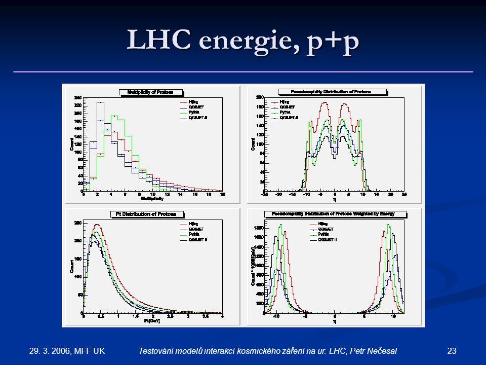 29. 3. 2006, MFF UK 23Testování modelů interakcí kosmického záření na ur. LHC, Petr Nečesal LHC energie, p+p