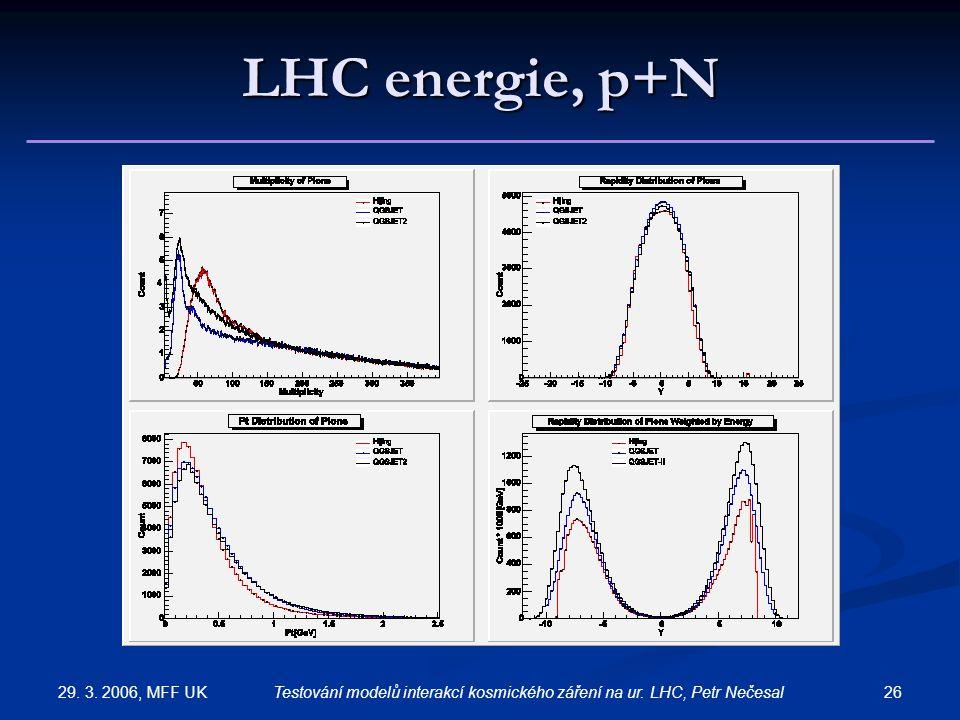 29. 3. 2006, MFF UK 26Testování modelů interakcí kosmického záření na ur. LHC, Petr Nečesal LHC energie, p+N