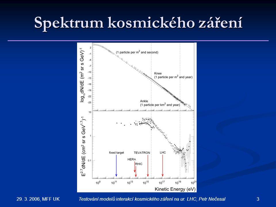 29. 3. 2006, MFF UK 3Testování modelů interakcí kosmického záření na ur. LHC, Petr Nečesal Spektrum kosmického záření