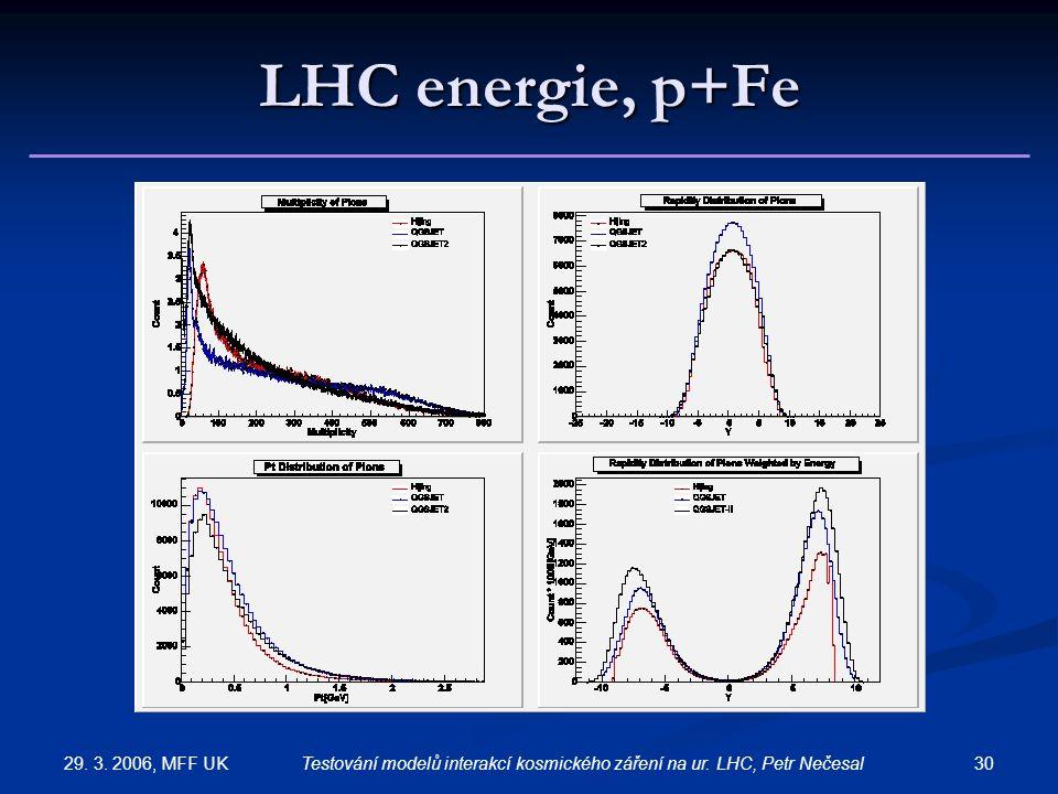 29. 3. 2006, MFF UK 30Testování modelů interakcí kosmického záření na ur. LHC, Petr Nečesal LHC energie, p+Fe