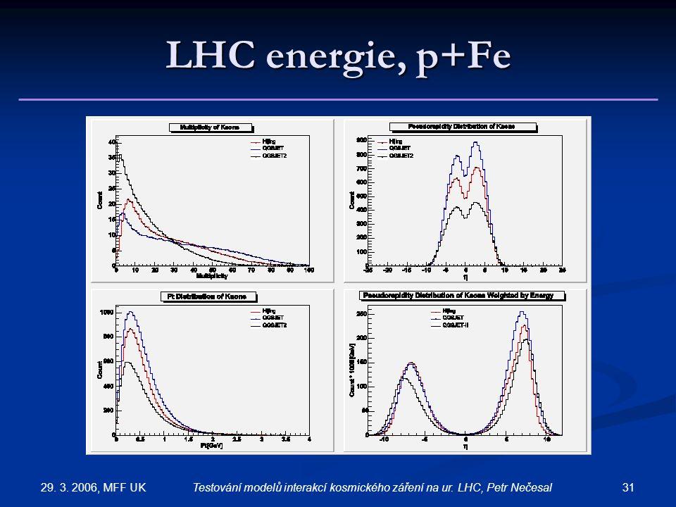 29. 3. 2006, MFF UK 31Testování modelů interakcí kosmického záření na ur. LHC, Petr Nečesal LHC energie, p+Fe