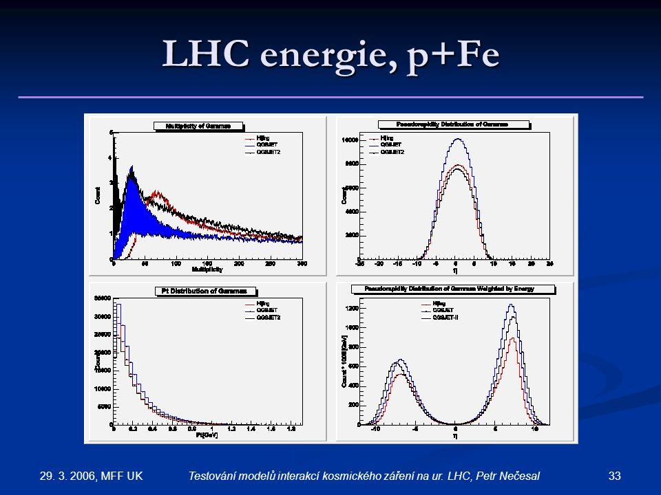 29. 3. 2006, MFF UK 33Testování modelů interakcí kosmického záření na ur. LHC, Petr Nečesal LHC energie, p+Fe