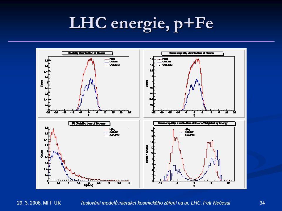 29. 3. 2006, MFF UK 34Testování modelů interakcí kosmického záření na ur. LHC, Petr Nečesal LHC energie, p+Fe