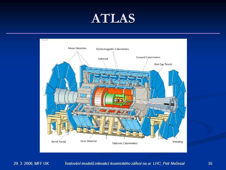 29. 3. 2006, MFF UK 35Testování modelů interakcí kosmického záření na ur. LHC, Petr Nečesal ATLAS