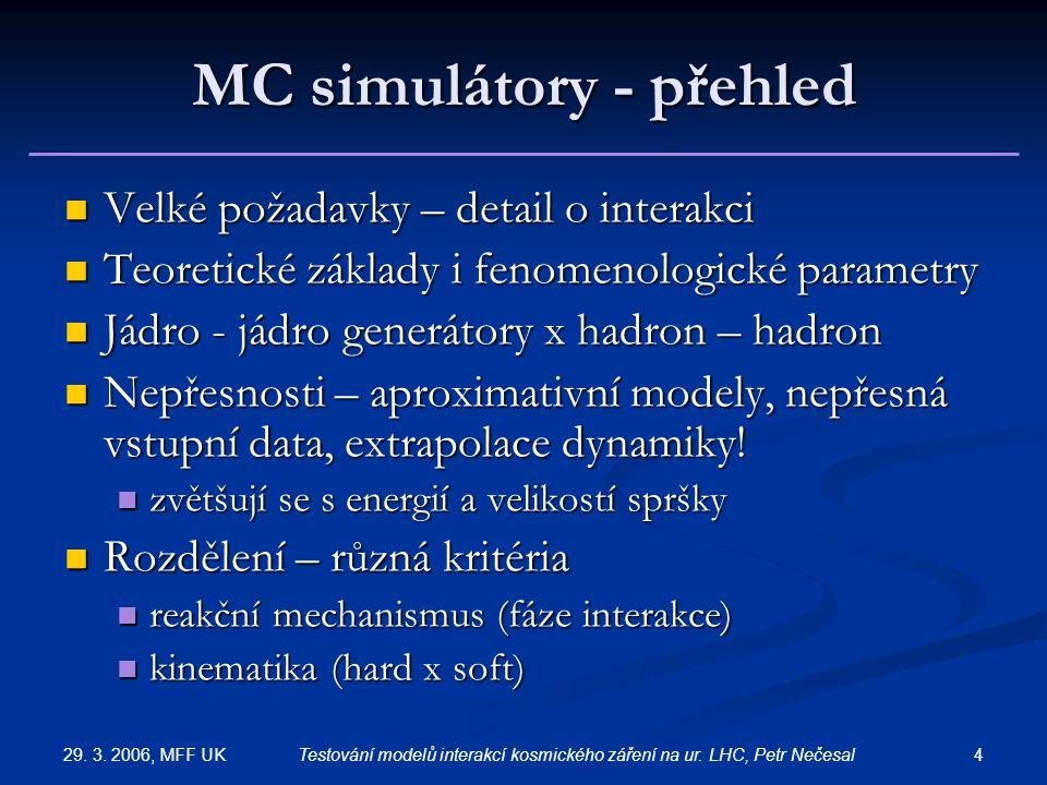 29. 3. 2006, MFF UK 4Testování modelů interakcí kosmického záření na ur. LHC, Petr Nečesal MC simulátory - přehled Velké požadavky – detail o interakc