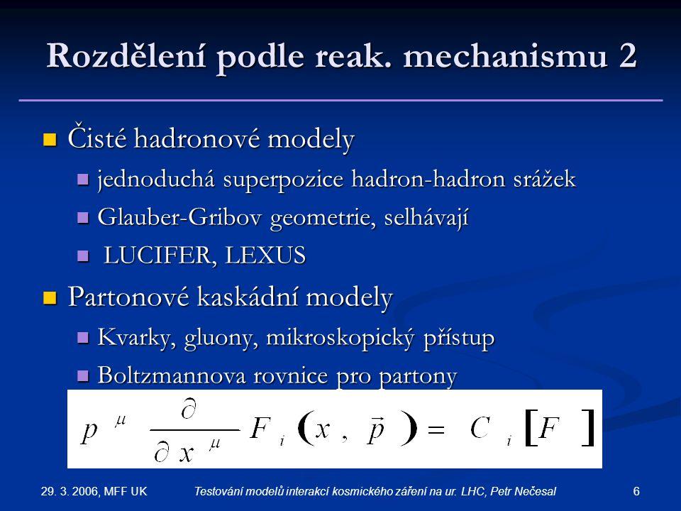 29. 3. 2006, MFF UK 6Testování modelů interakcí kosmického záření na ur. LHC, Petr Nečesal Rozdělení podle reak. mechanismu 2 Čisté hadronové modely Č