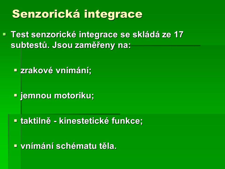 Senzorická integrace  Test senzorické integrace se skládá ze 17 subtestů.
