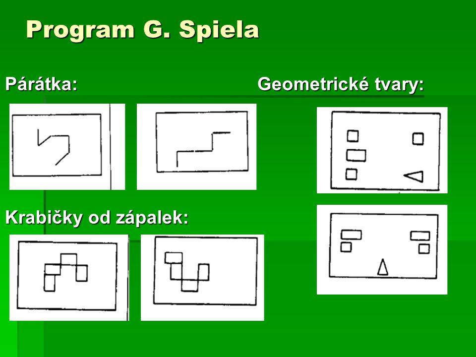 Program G. Spiela Párátka: Geometrické tvary: Krabičky od zápalek: