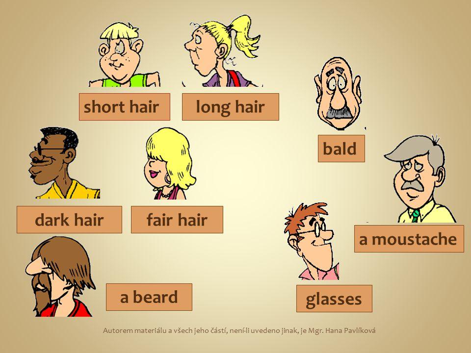 short hairlong hair dark hairfair hair a moustache bald glasses a beard Autorem materiálu a všech jeho částí, není-li uvedeno jinak, je Mgr. Hana Pavl