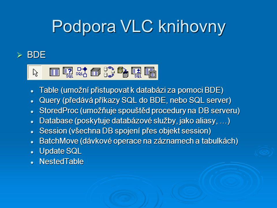 Podpora VLC knihovny  BDE Table (umožní přistupovat k databázi za pomoci BDE) Table (umožní přistupovat k databázi za pomoci BDE) Query (předává přík
