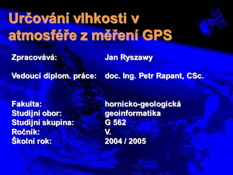 Cíle práce  Seznámení s problematikou GPS meteorologie  Seznámit se s existujícími projekty  Seznámení s programovým prostředím GIPSY-OASIS II GIPSY-OASIS II  Zpracování metodiky získání hodnot obsahu vlhkosti  Ověření metodiky na testovacích datech