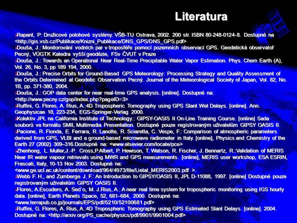 Literatura  Rapant, P: Družicové polohové systémy. VŠB-TU Ostrava, 2002. 200 str. ISBN 80-248-0124-8. Dostupné na  Rapant, P: Družicové polohové sys