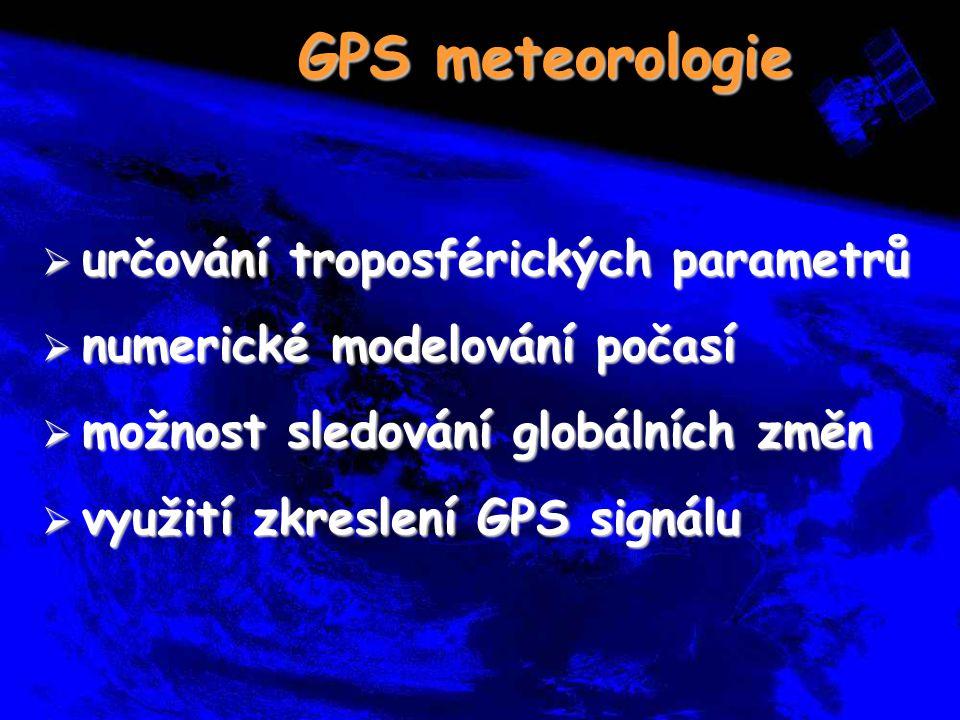 GPS meteorologie  určování troposférických parametrů  numerické modelování počasí  možnost sledování globálních změn  využití zkreslení GPS signál