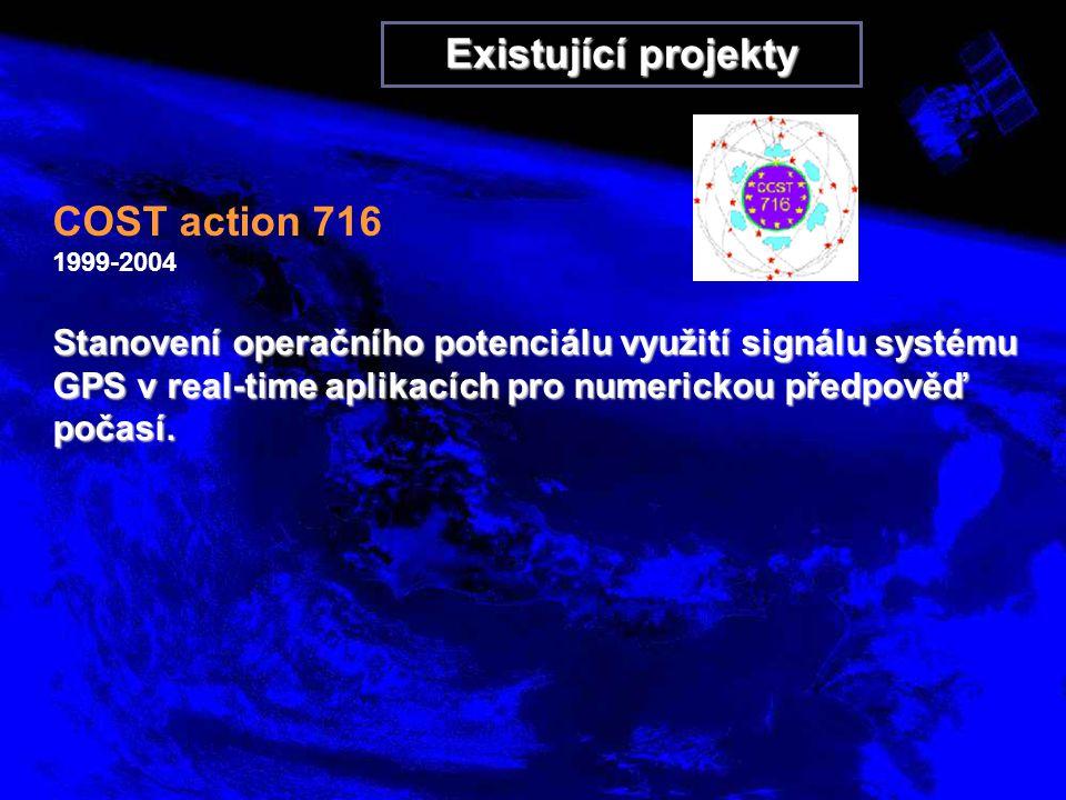 Existující projekty COST action 716 1999-2004 Stanovení operačního potenciálu využití signálu systému GPS v real-time aplikacích pro numerickou předpověď počasí.