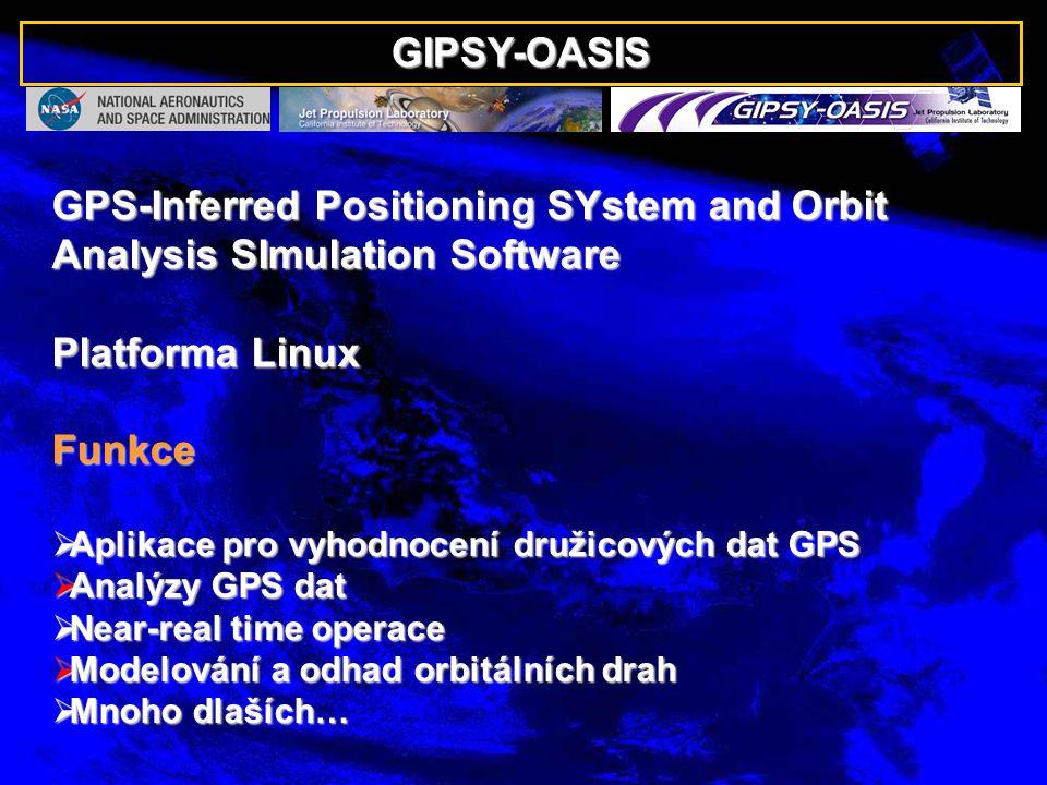 GIPSY-OASIS GPS-Inferred Positioning SYstem and Orbit Analysis SImulation Software Platforma Linux Funkce  Aplikace pro vyhodnocení družicových dat GPS  Analýzy GPS dat  Near-real time operace  Modelování a odhad orbitálních drah  Mnoho dlaších…