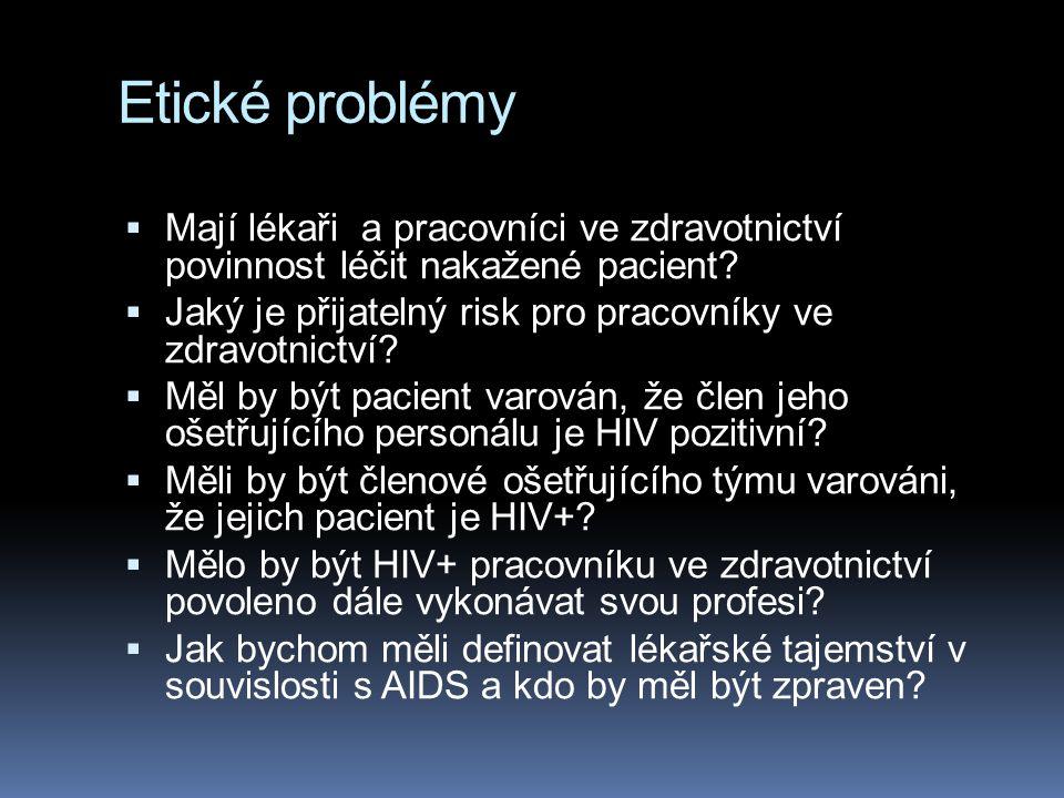Etické problémy  Mají lékaři a pracovníci ve zdravotnictví povinnost léčit nakažené pacient.