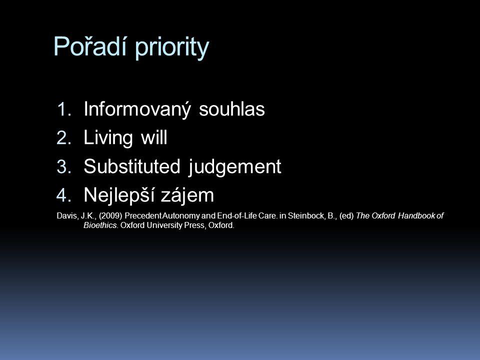 Pořadí priority 1. Informovaný souhlas 2. Living will 3. Substituted judgement 4. Nejlepší zájem Davis, J.K., (2009) Precedent Autonomy and End-of-Lif