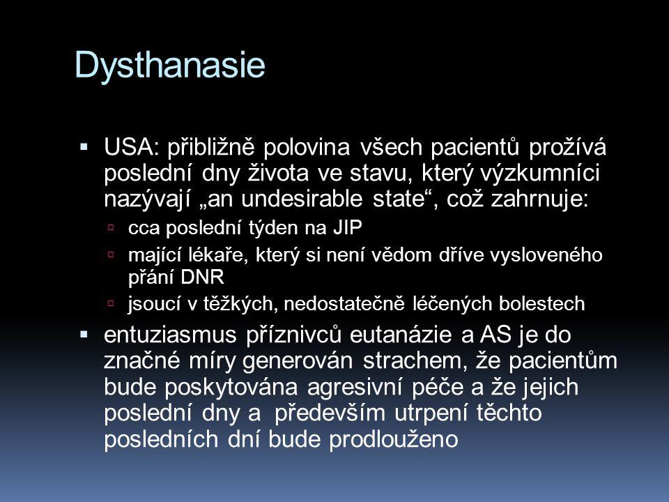 """Dysthanasie  USA: přibližně polovina všech pacientů prožívá poslední dny života ve stavu, který výzkumníci nazývají """"an undesirable state"""", což zahrn"""