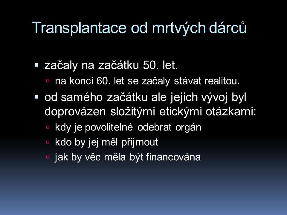 Transplantace od mrtvých dárců  začaly na začátku 50. let.  na konci 60. let se začaly stávat realitou.  od samého začátku ale jejich vývoj byl dop