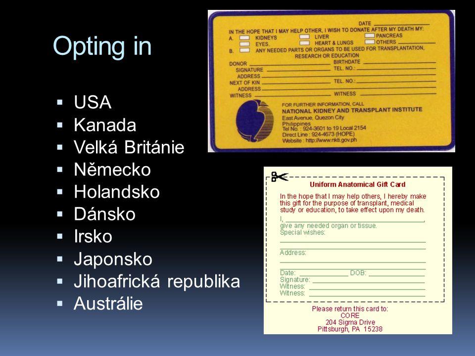 Opting in  USA  Kanada  Velká Británie  Německo  Holandsko  Dánsko  Irsko  Japonsko  Jihoafrická republika  Austrálie