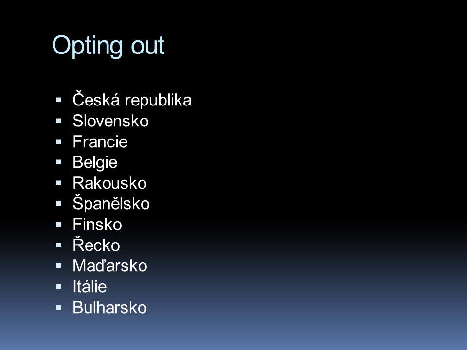 Opting out  Česká republika  Slovensko  Francie  Belgie  Rakousko  Španělsko  Finsko  Řecko  Maďarsko  Itálie  Bulharsko