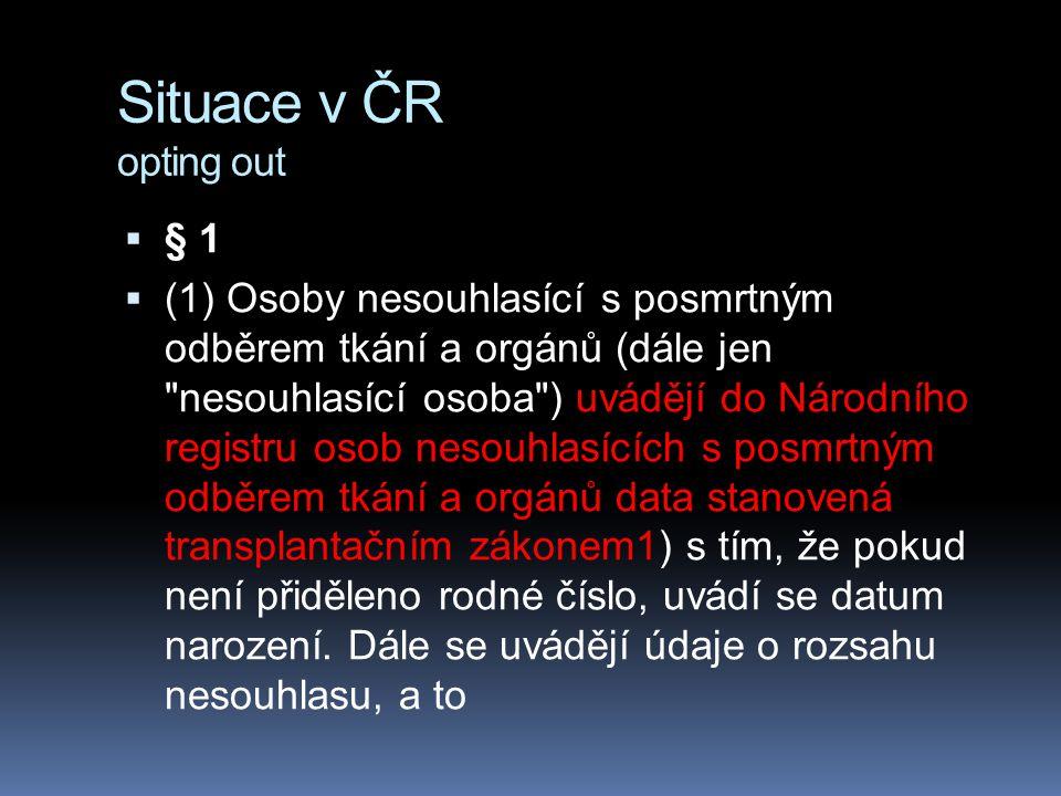 Situace v ČR opting out  § 1  (1) Osoby nesouhlasící s posmrtným odběrem tkání a orgánů (dále jen nesouhlasící osoba ) uvádějí do Národního registru osob nesouhlasících s posmrtným odběrem tkání a orgánů data stanovená transplantačním zákonem1) s tím, že pokud není přiděleno rodné číslo, uvádí se datum narození.