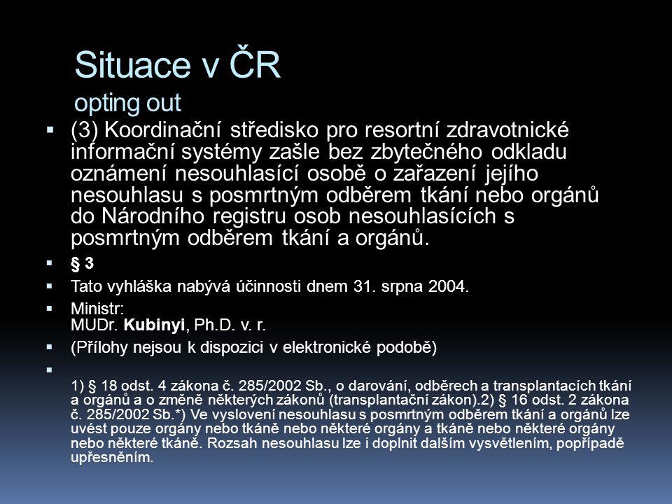 Situace v ČR opting out  (3) Koordinační středisko pro resortní zdravotnické informační systémy zašle bez zbytečného odkladu oznámení nesouhlasící os