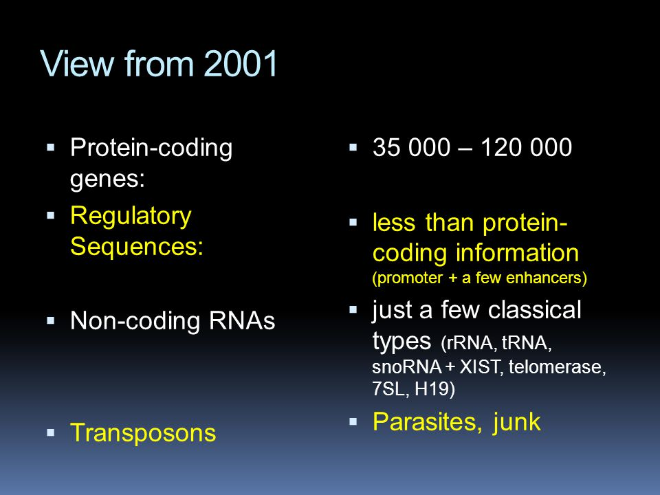 View from 2001  Protein-coding genes:  Regulatory Sequences:  Non-coding RNAs  Transposons  35 000 – 120 000  less than protein- coding informat