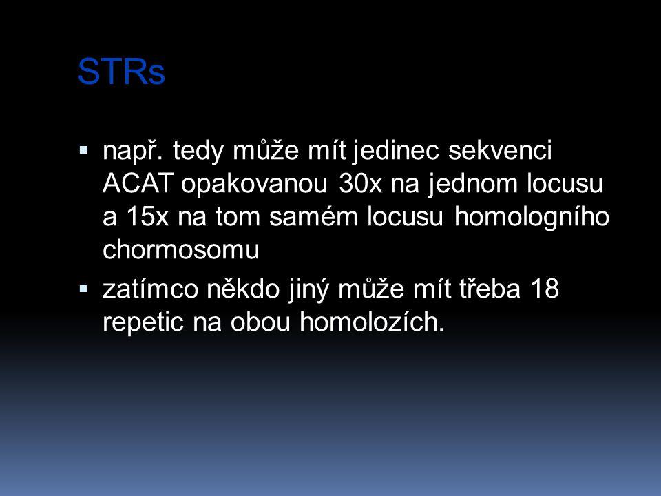 STRs  např. tedy může mít jedinec sekvenci ACAT opakovanou 30x na jednom locusu a 15x na tom samém locusu homologního chormosomu  zatímco někdo jiný