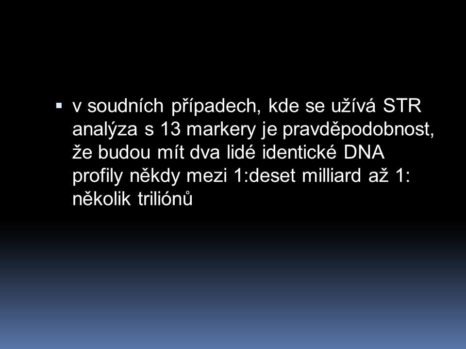  v soudních případech, kde se užívá STR analýza s 13 markery je pravděpodobnost, že budou mít dva lidé identické DNA profily někdy mezi 1:deset milliard až 1: několik triliónů