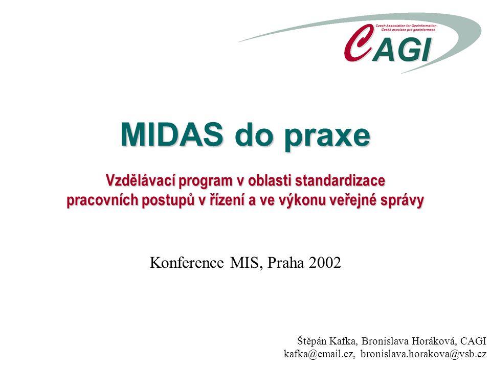 MIDAS do praxe Vzdělávací program v oblasti standardizace pracovních postupů v řízení a ve výkonu veřejné správy Štěpán Kafka, Bronislava Horáková, CA